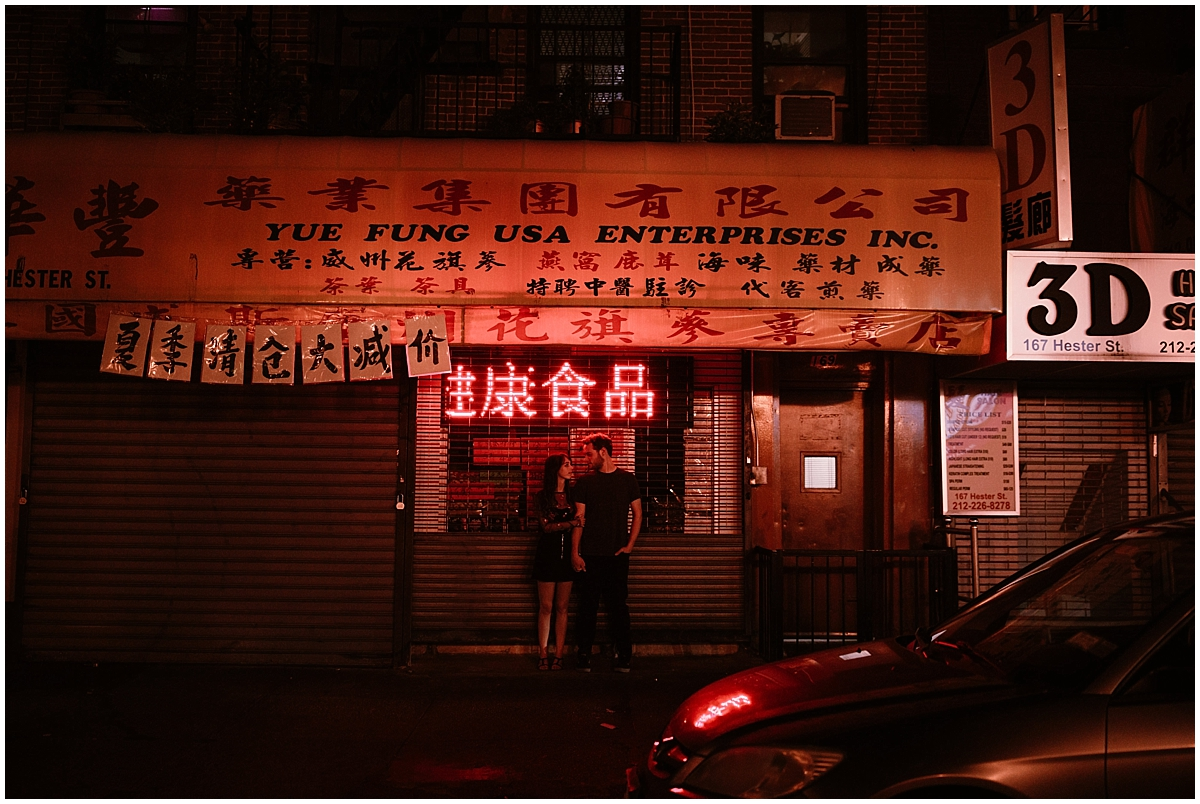 Chinatown neon engagement session