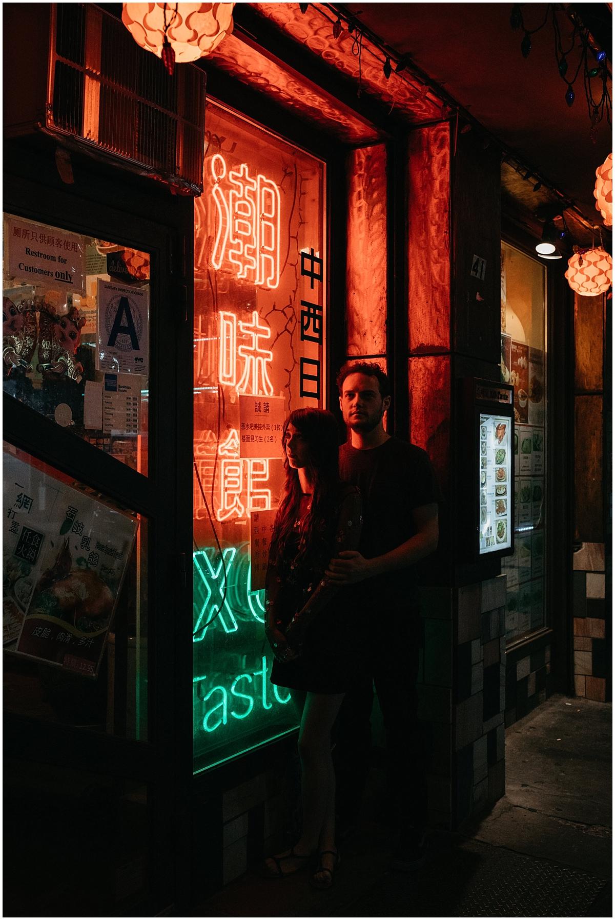 Chinatown Neon Engagement Session Yellow Bird Visuals